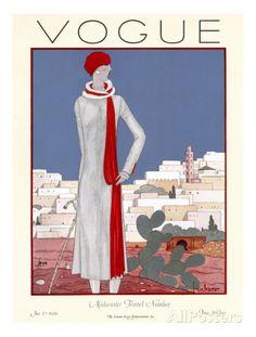 Vogue Cover - January 1926 Premium giclée print van Georges Lepape bij AllPosters.nl
