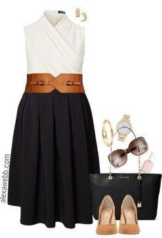 Plus Size Black Midi Skirt Outfit - Plus Size Spring Outfits - Plus Size Fashion for Women - alexawebb.com #alexawebb #PlusSizeDresses