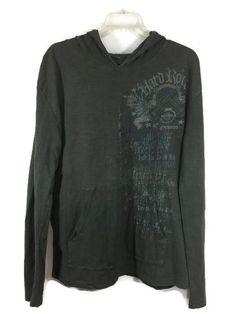 HARD ROCK GUITAR CO Size Large Young Mens Gray Hoodie Orlando Long Sleeve Shirt #HardRock #Hoodie