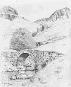 37 Stone And Rock Pencil Drawing Ideas - Art Pencil Sketches Landscape, Landscape Drawings, Pencil Art Drawings, Art Drawings Sketches, Sketch Painting, Watercolor Sketch, Bridge Drawing, Nature Sketch, Drawing Techniques