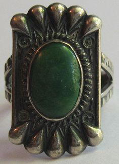 VINTAGE NAVAJO INDIAN SILVER GREEN CERILLOS TURQUOISE RING SIZE 6-1/2
