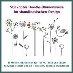 """Zauberhaft - Leicht und in 5 Minuten fertig gestickt. Diese schöne Blumenwiese im Doodle Design paßt einfach überall. Das Set ist beliebig erweiterbar, alle Teile lassen sich untereinander kombinieren und passen ganz toll zu allen Dingen im """"Schweden-Design"""""""
