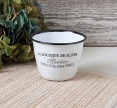 ... Chic Enamel Enamelware Cup Pot Planter La Boutique De Fleurs Paris