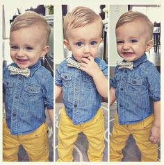 Yellow Jeans + Denim Shirt + bow tie = cute as a button
