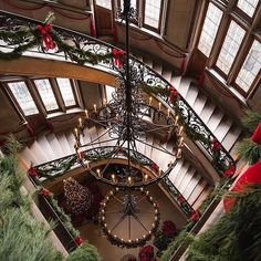 'Tis the Season at Biltmore. Take a look at this gorgeous view down the Grand Staircase. #Biltmore #Christmas #holiday #garland #ribbon #bows #decorations : @erichaggart. Use the hashtag #visitasheville for a chance to be featured on Facebook, Instagram, and Twitter!