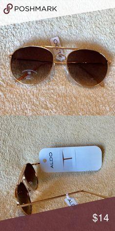 8ad9e19d83 NWT NEW Aldo aviator brown and gold sunglasses Aldo aviator brown and gold  glasses New with