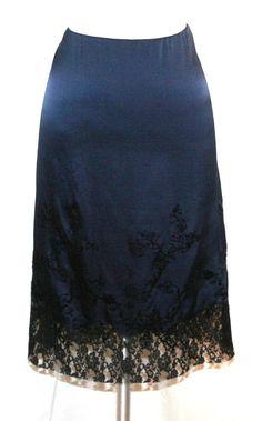Philosophy di Alberta Ferretti Dark Blue Silk/Black Lace Skirt Sz 10 #AlbertaFerretti #ALine