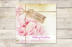 spring wedding invitations | This Vintage Peony Invitation naturally incorporates cayenne and sand ...
