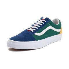 f342e5e9e78e60 Vans Old Skool Skate Shoe - Blue Green Yellow - 497219 Vans Old Skool