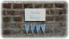 Tür- & Namensschilder - Türschild Familienschild Herzen Landhaus Shabby - ein Designerstück von Alexandra-Sangs bei DaWanda