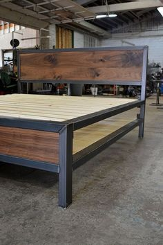 Industrial Bed, Modern Industrial Furniture, Rustic Furniture, Furniture Design, Welded Furniture, Steel Furniture, Style At Home, Welding Projects, Home Projects