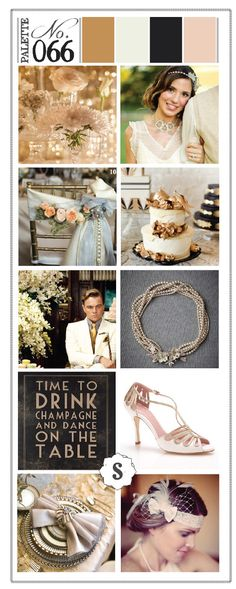 Inspiration from the 1920's and Great Gatsby. Color palette from Soiree Event Design in Spokane, WA. Gold, peach, black and cream colors for wedding. Beautiful cake and accessories.
