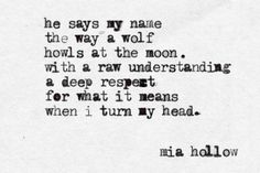 'He says my name the way a wolf howls at the moon. With a raw understand and a deep respect for what it means when I turn my head.'