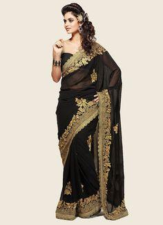 $60 Cbazaar #Black #Resham #Embroidered #Georgette #Saree