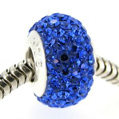 Queenberry Sterling Silver Birthstone Round Sapphire Blue Crystals Bead For Pandora Troll European Charm Bracelets September Queenberry. $11.98. Quantity: 1 piece. Color: Bright Silver and Sapphire Blue crystal. Hole Size: ~4.4mm. Materials: .925 Sterling Silver (stamped), Crystals & Ferido. Size: ~13.5mm x 8.5mm. Save 52% Off!