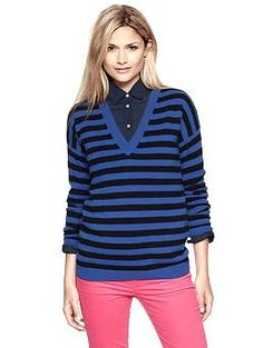 Cashmere striped sweater in crisp royal blue from Gap; $128 (so lovely but ouch!)
