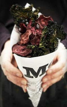 Baked beet and kale chips..these snacks got our attention.