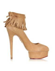 Charlotte Olympia Sundance Dolly Wheat Suede Fringe Platform Pumps   Shoes and Footwear