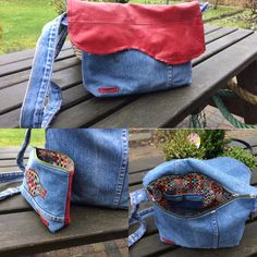 Schoudertas van spijkerbroek en restleer Met bijpassend 'toilettasje'  Jeans recycle