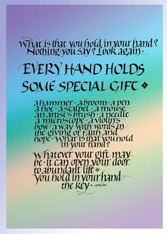 Every Hand~::~Judy Dodds, Penscriptions Calligraphy