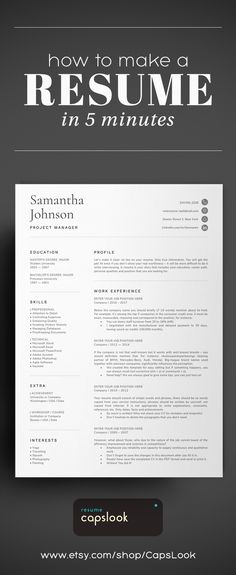 Resume Template CV for Word HR Administrative Professional Modern