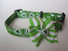 St Patrick's Day Shamrock Dog Collar size Large by jeanamichelle, $14.50