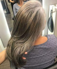 Ash Bronde Long Layered Hair - with grey Long Gray Hair, Silver Grey Hair, Medium Hair Styles, Natural Hair Styles, Short Hair Styles, Gray Hair Highlights, Gray Hair Growing Out, Transition To Gray Hair, Long Layered Hair