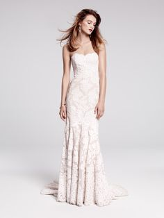 La Fleur by Anne Barge, strapless Alençon lace gown with elongated bodice & flared skirt