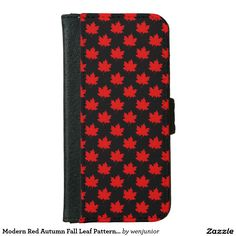 Modern Red Autumn Fall Leaf Pattern on Black iPhone 6 Wallet Case