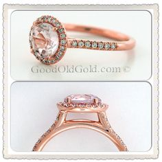 A custom ring for a lucky lady! A rose gold diamond halo surrounds a custom cut peach sapphire. Beautiful! Rose gold engagement ring. Good Old Gold - Specializing in Diamonds & Engagement Rings - beautiful diamond rings, earrings, necklaces, bracelets, anything jewelry. www.goodoldgold.com