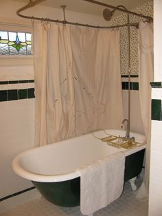 Best 13 Clawfoot Tub Shower Curtain Decorating Ideas : Classic Clawfoot Tub Shower Curtain Decorating Ideas with Neutral Beige Color Scheme Fabric Materials Curtains Style hanging on the Traditional Metal Materials Hanger Accessories