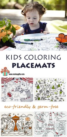 The coolest kids coloring placemats - better than coloring pages and you can color them over and over again. Perfect for picky eaters. Take them along when traveling or dining out with kids.