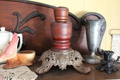 Antique Hatpin Stand Victorian Hatpin Stand Wood and Cast