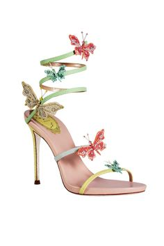 Embellished sandal w/ butterflies, from René Caovilla Spring-Summer Fancy Shoes, Pretty Shoes, Beautiful Shoes, Cute Shoes, Me Too Shoes, Heeled Boots, Shoe Boots, Shoes Heels, Prom Shoes