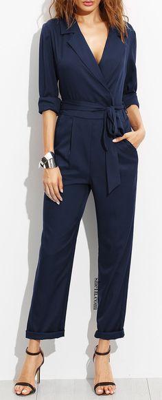 Navy Surplice Self Tie Tux Jumpsuit – Mode für Frauen Casual Outfits, Cute Outfits, Fashion Outfits, Womens Fashion, Fashion Skirts, Gothic Fashion, Designer Jumpsuits, Vetement Fashion, Mode Blog