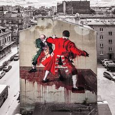 """Brilliant new work in Poland by @conorsaysboom  #conorharrington #poland #classic #mural  #blackappleart #urbanart #sprayart #streetart #art"" Photo taken by @blackappleart on Instagram."
