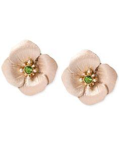 Betsey Johnson Gold-Tone Flower Stud Earrings