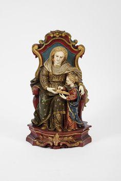 Lote 105 do Leilão 179 -- Santana sentada ensinando Nossa Senhora a ler - Cabral Moncada Leilões
