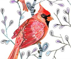 Cardinals on branches, water color art print by Ola Liola, size 10x8, SALE buy two get one free