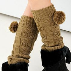 59 Seconds  Cable-Knit Pom-Pom Leg Warmer