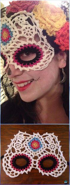 DIA DE LOS MUERTOS/DAY OF THE DEAD~Crochet Sugar Skull Mask Paid Pattern - Crochet Skull Ideas Free Patterns