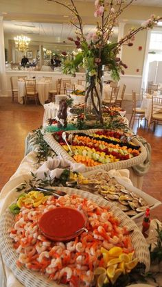 Buffet Display Shrimp Cocktail Fruit Salad www.legendscatering.com