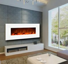 Contemporary Ivory 50-inch Wall Mounted Electric Fireplace in White