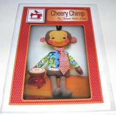 Cheery Chimp Monkey wool felt flannel fabric sewing toy pattern #OneRedRobin
