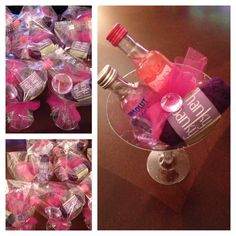 Bachelorette party favors! Hanky Panky low rise thong, mini Absolut, mini Kinky Liqueur in glitter martini glass