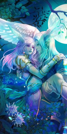 Female and male, together. Under the moonlight. Making out. Love is the same thing in every world