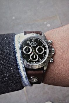 A  custom piece Rolex Daytona with an Arabic dial, beadblasted case and handmade leather strap by BrevetPlus