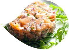 Salmon tartare with <br />La Baleine fine sea salt