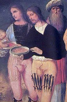 "Codpiece, or ""Braguette"". The fastening on the front panel of tights   and pants since the Renaissance."