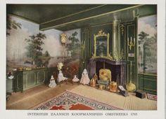 Zaanse interieurs en klederdrachten. Interieur Zaans Koopmanshuis omstreeks 1785. Maandkalender 1933. uitg. De Zaanlander. Zaans Archief #NoordHolland #Zaanstreek